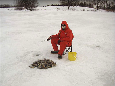 Ice fishing for crappie with mormyshka